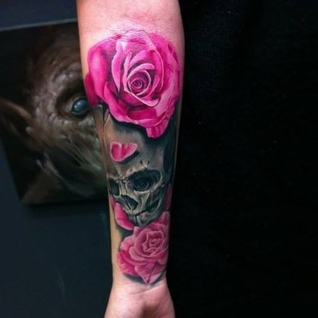 tatuagem-caveira-rosas